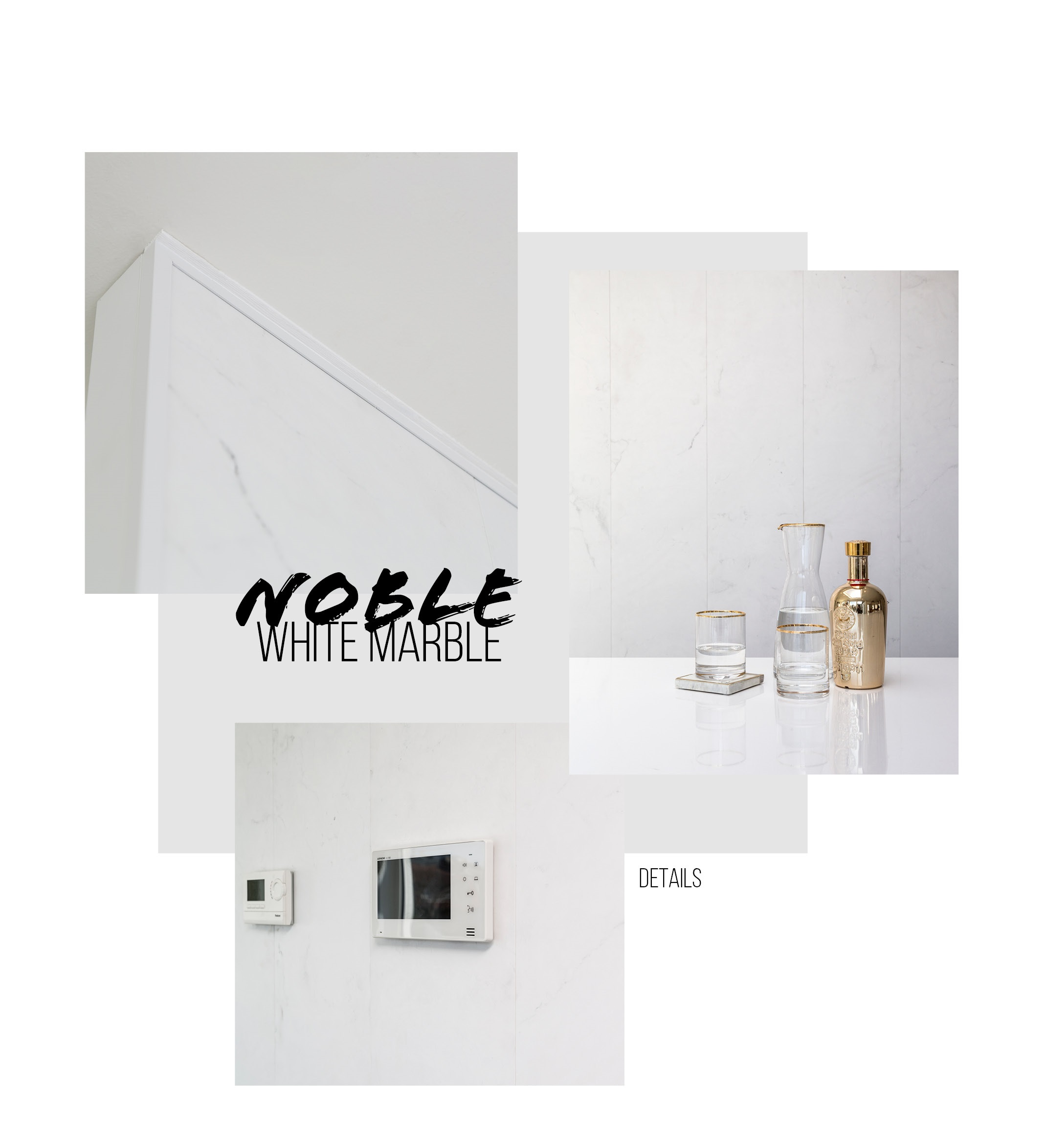 Noble white marble details